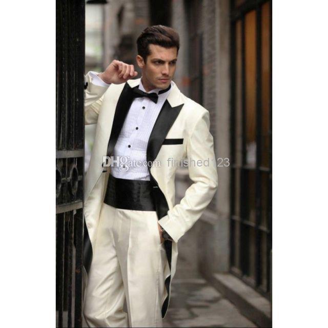 2017 Custom Design Ivory Groom Tuxedos Black Satin Lapel Best Man ...