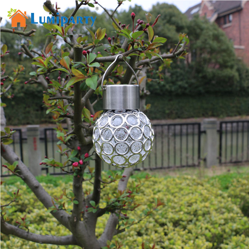 LumiParty Solar Powerd Light Peacock Eye LED Hanging Lamp Outdoor Garden Decor Light For