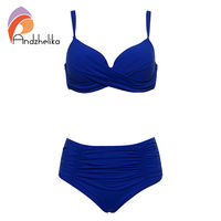 Andzhelika 2017 New Sexy Bikinis Women Swimwear Solid Fold High Waisted Bikinis Set Plus Size Swimwear