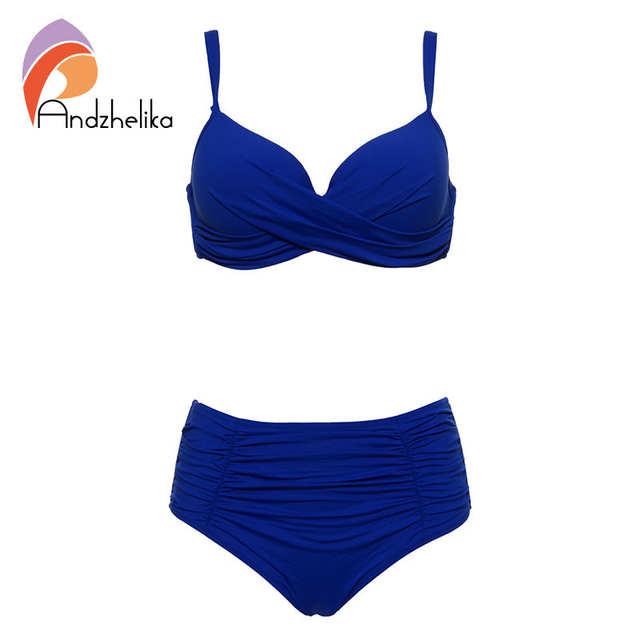 a30767385b14 Andzhelika 2018 nuevos Bikinis sexis para mujer traje de baño con pliegues  sólidos de talle alto conjunto de Bikinis de talla grande traje de baño ...