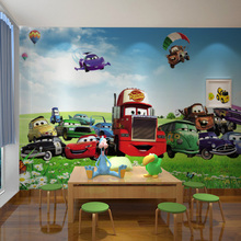 Free Shipping Cute environmental children's room wallpaper living room sofa TV background cartoon nursery Cars wallpaper mural(China (Mainland))