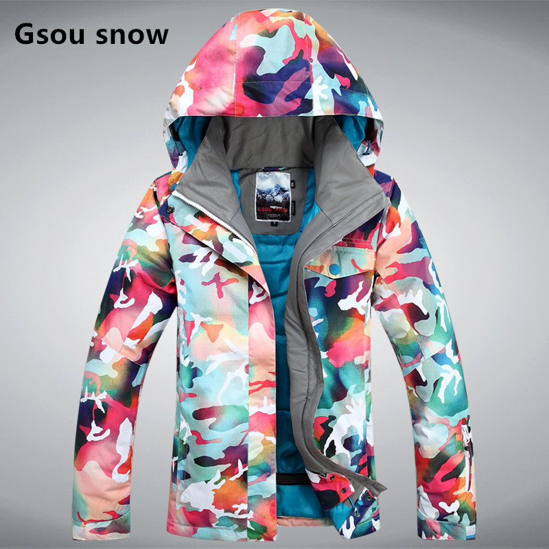 Prix pour Gsou Snow véritable double plaque combinaison de ski féminin Coréenne style coupe-vent imperméable à l'eau en plein air ski costume