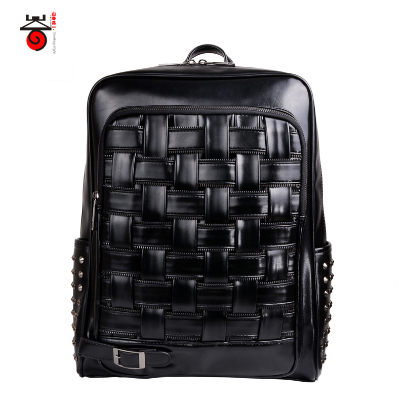 Senkey style knitter backpack men's solid color satchel simple mochilas and fashionable zipper PU material backpack shoulders