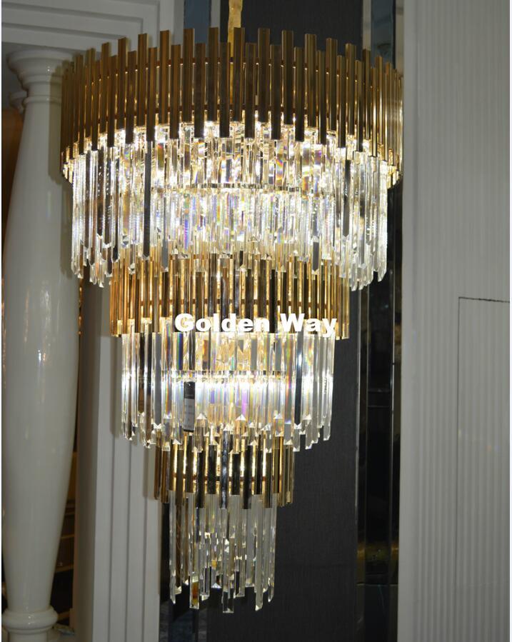 Estilo Nórdico moderno Escada Lâmpada Pingente de Cristal de Ouro de Luxo Grande Lustre Moderno Dupla Escada Luzes do Corredor Sala de estar