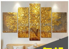 Hand-painted modern home decor wall art picture Autumn-Golden-Tree palette thick knife oil painting  on canvas for  living room