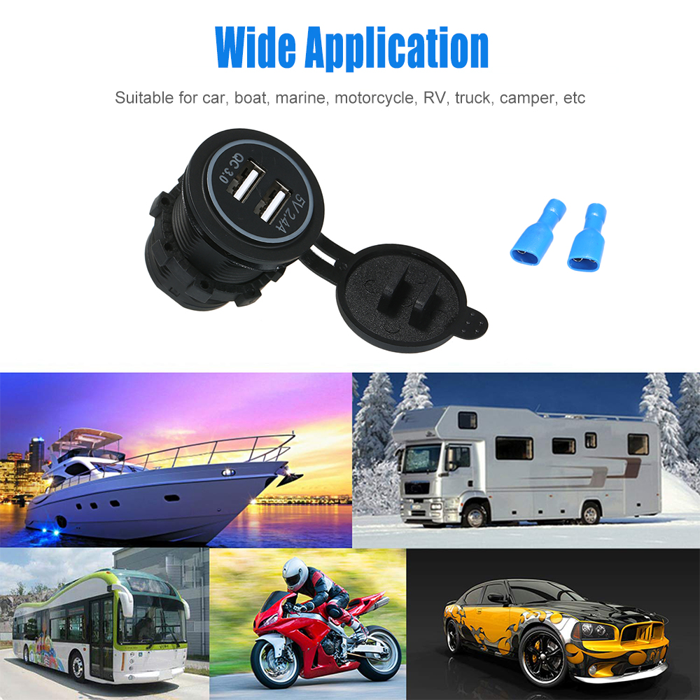 Dual USB Charger Socket Power Outlet Quick Charge 3.0 /& 2.4A for Car Motorcycle