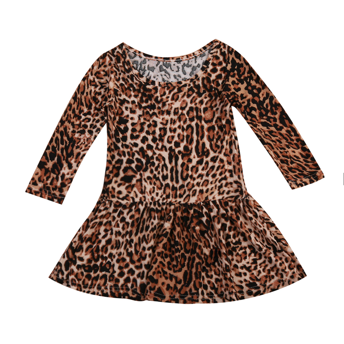 Fashion 0-24 Months Kids Baby Girls Cotton Long Sleeves Leopard Dresses Baby Autumn Winter Dress Clothes