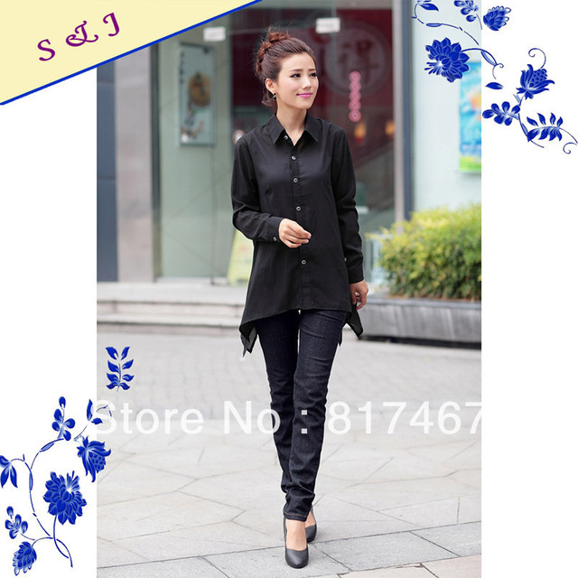 Womens Casual Fashionable Black Dress Shirt Chiffon Ladies