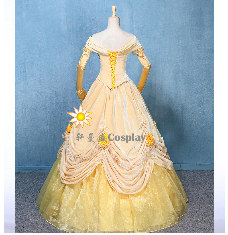 100%real new velvet and organza light yellow belle cosplay medieval ...