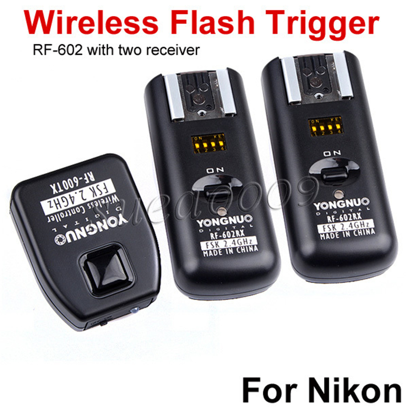 YONGNUO RF-602 2.4GHz Wireless Flash Trigger with Studio Cord  with 2 Receivers for Nikon 2 receivers 60 buzzers wireless restaurant buzzer caller table call calling button waiter pager system