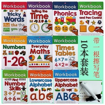 10 Books/Set Wipe Clean Workbook Children Kids English Picture Book Learn ABC Alphabet/Times/Maths/Tricky Phonics Words