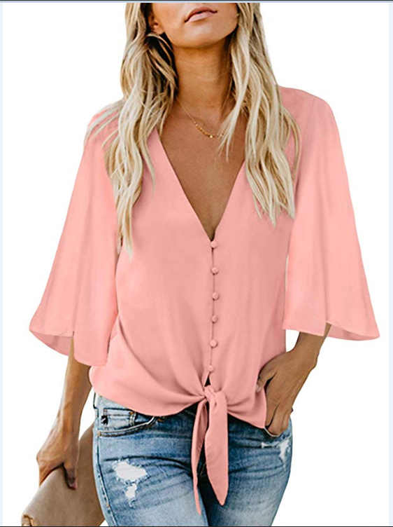 Artı boyutu bayan T-Shirt derin v yaka fırfır yarım kollu tunik gevşek düğme gömlek üst 2019 yeni
