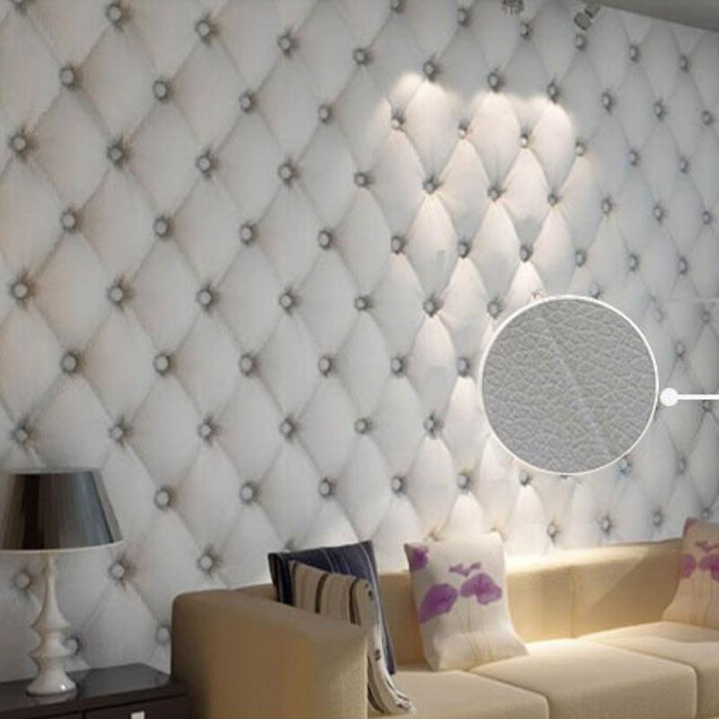 Modern Faulse Leather Softbag 3D Wallpaper PVC Diamond Living Room Bedroom Sofa TV  Background Wall Paper Roll Papel De Parede