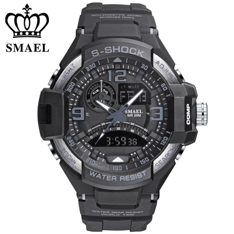 Hommes chronographe sport montres smael marque 5atm preuve de l'eau numérique en plein air militaire montre hommes alarme led quartz montres
