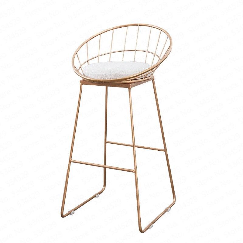 N1Nordic Bar Stool Wrought Iron Cashier High Stool Modern Minimalist Back Bar Chair Creative Personality Bar Chair