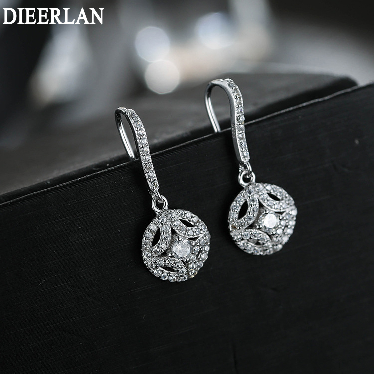 Fashion 925 Sterling Silver Round With Full Zirconia Crystal Earrings Tassel Earrings Jewelry