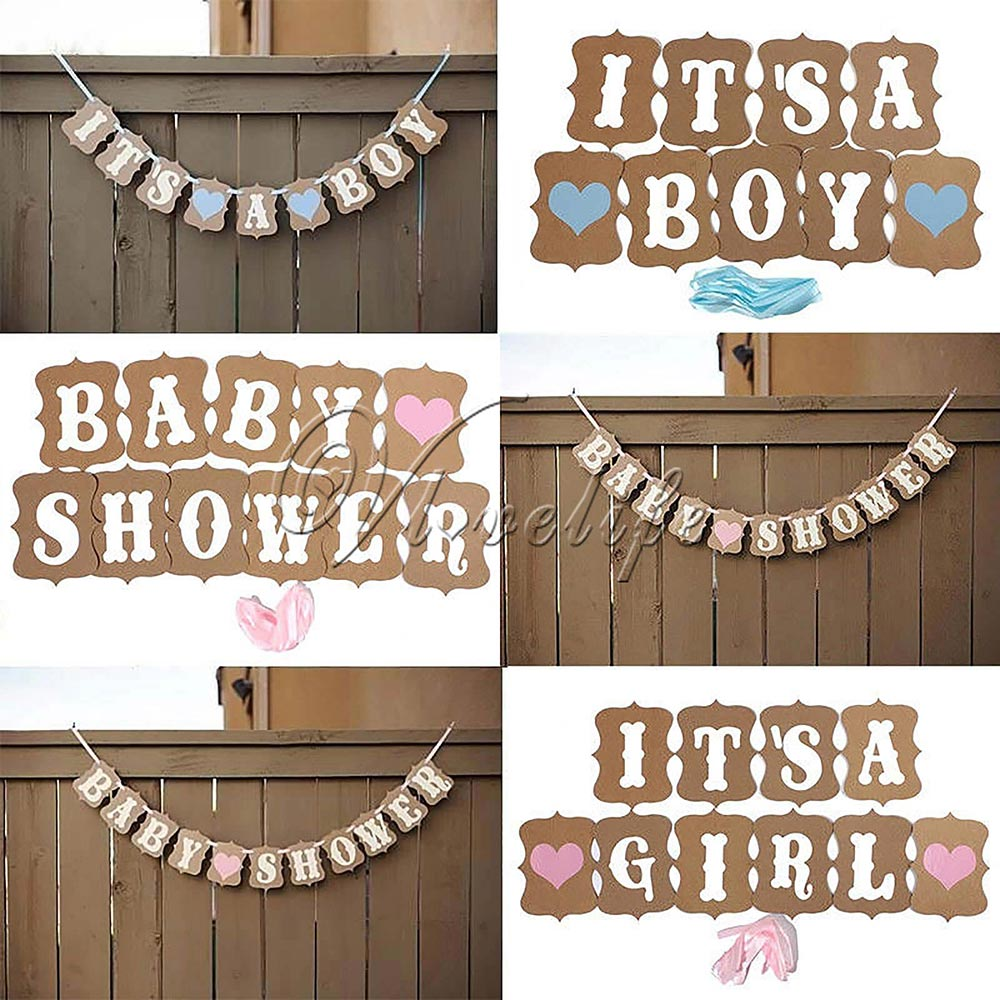 It/'s a Girl//Boy Baby Shower Banner Bunting Garland Rustic Letter Party Decor