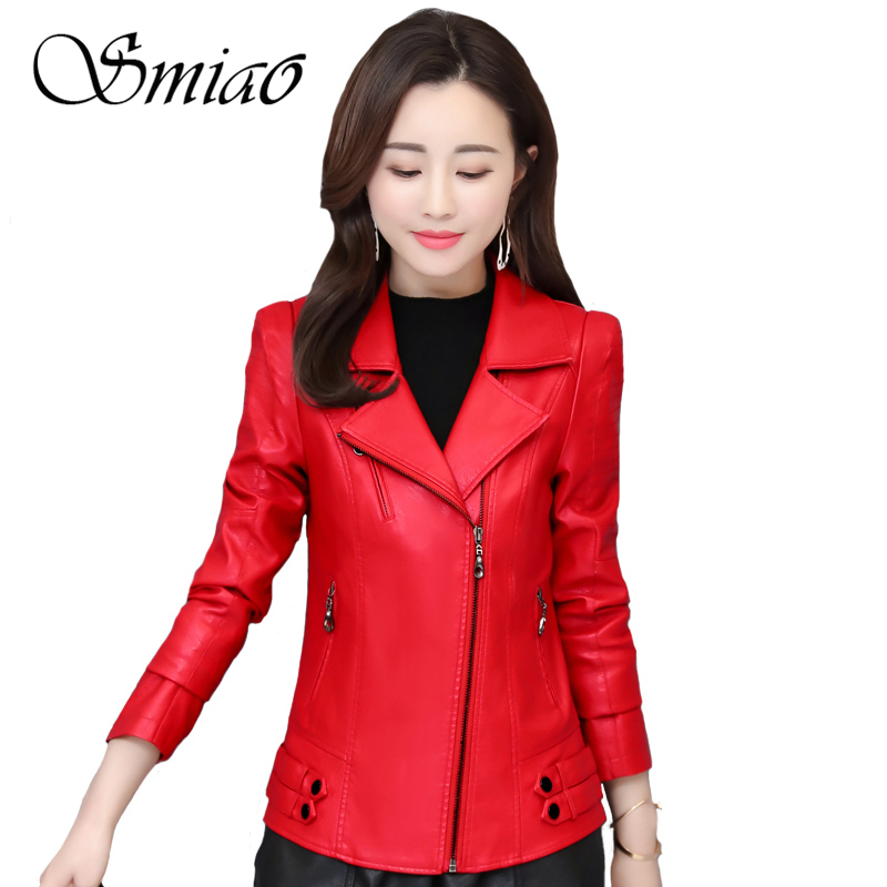 2019 New Spring Women Faux   Leather   Jacket Fashion Slim Turn-Down Collar Zippers Short Ladies PU   Leather   Jacket Plus Size 4XL