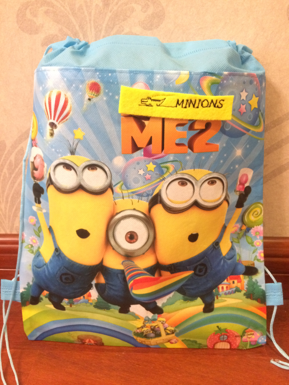 kids children minions bag tote backpack string shoe bag for sweaty clothes school bag for boys and girls to school runners zoo animal sweetheart backpack toddler pouch non woven string shoe shourlder school bag for boy and girls birthday party gift