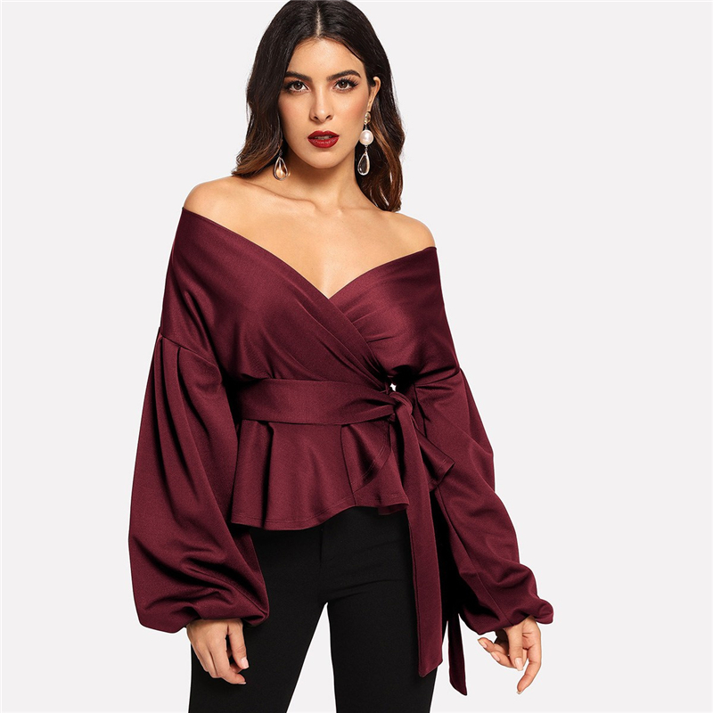 SHEIN White Office Lady Elegant Lantern Sleeve Surplice Peplum Off the Shoulder Solid Blouse Autumn Sexy Women Tops And Blouses 25