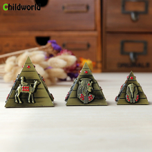 3 pcs/lot Vintage Metal Home Decoration Accessories Egyptian Pyramids Model Creative Furnishing Craft Ornaments Figurines