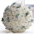 2016 Hermosa Grande Crystal Wedding Bouquets Todo Hecho A Mano Ramo de Novia de Alta Simulación Rose Flores de La Boda Ramos de Novia