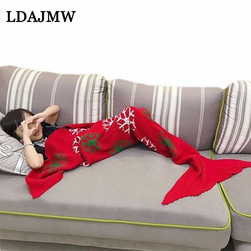 Damen-nachtwäsche Hirigin 2017 Freies Verschiffen Erwachsene Meerjungfrau Schwanz Handgemachte Gehäkelte Herbst Winter Warme Kokon Sofa Decken Strand Quilt Teppich Knit
