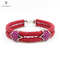 Luxury Brand Bijoux Femme Red Python Leather Bracelets For Women Genuine Python With Real 925 Silver Clasp/Accessories Bracelet