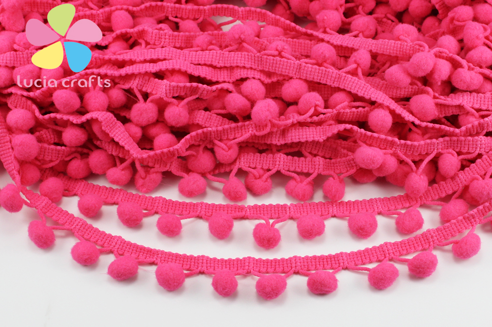 Lucia Crafts 15mm Pompon Ball Trims Ribbon DIY Sewing Accessory Lace 2y/lot D17011502