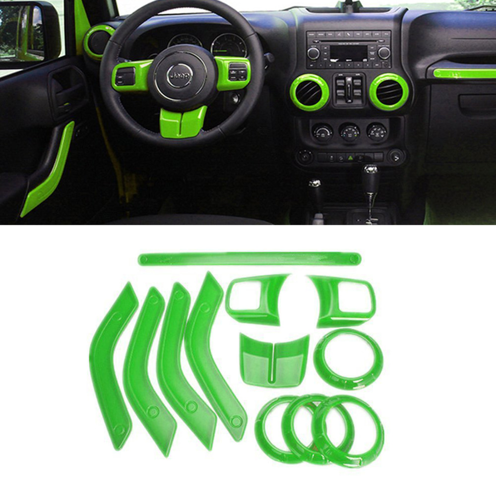12Pcs Green ABS Steering Wheel Trim Air Condition Vent Interior Accessories Door Handle Cover Kits For Jeep Wrangler JK