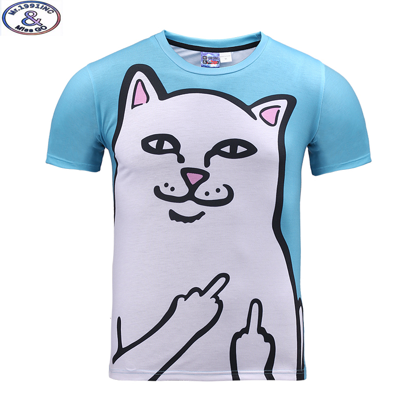 Mr.1991 newest youth funny white cat printed 3D t-shirt for boys and girls summer style teens t shirt big kids 11-20 tops A34