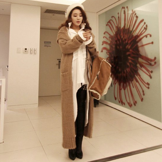 Autumn winter woman casual loose vintage hooded maxi sweater coat ...