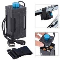 Caixa de bateria impermeável portátil com interface usb suporte 4x18650 bateria para led bicicleta luz lâmpada banco potência