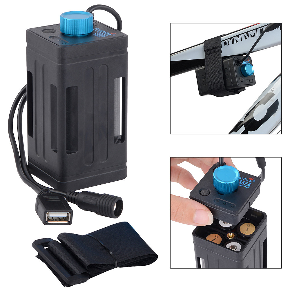 Portable Waterproof Battery Case <font><b>Box</b></font> with USB Interface Support 4 x <font><b>18650</b></font> Battery for LED Bicycle Light <font><b>Bike</b></font> Lamp Power Bank image