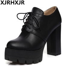 XJRHXJR Top Quality New Large Size 34-43 Lace Up Black White Square high-heeled Women Shoes Cool Platform Date Pumps