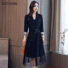 Korean women dresses simple self-cultivation wild trend  suit collar stitching long-sleeve Dress
