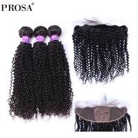 13x4 Silk Base Lace Frontal Closure With Bundles Kinky Curly Brazilian Hair Weave 3 Human Hair Bundles Prosa Remy
