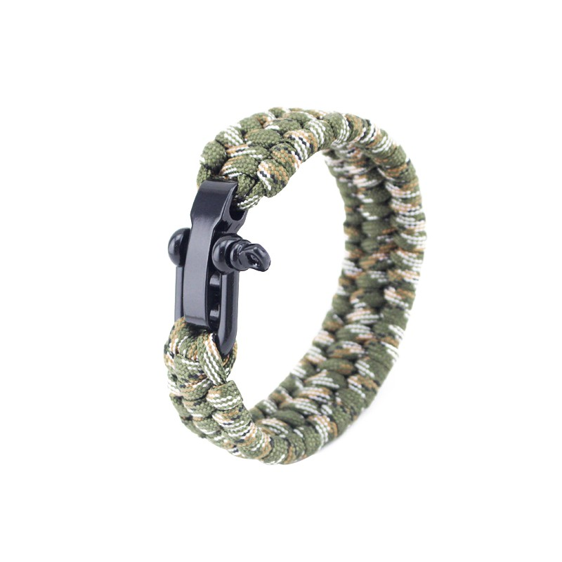 Outdoor Camping Hiking Rescue Paracord Bracelets Parachute Cord Men & Women Emergency Rope Black Survival Stainless