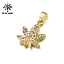 Leaves Necklaces Pendants For Men Women Hip Hop Jewelry Zircon Gold Color  Stainless Steel Chain Plant Charm Necklace Jewelrys dde7d842fd05