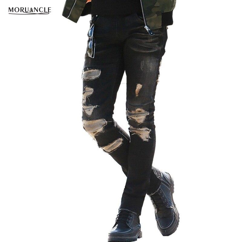ФОТО MORUANCLE Fashion Mens Jeans Trousers With Holes Brand Designer Ripped Denim Joggers Skinny Broken Distressed Black Jenas Pants