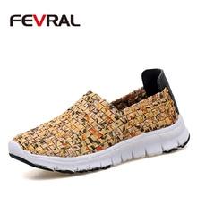 Fevral marca calçados femininos verão tecido sapatos de mulher cores naturais tecer sapatos macio respirável artesanal mulher sapatos casuais