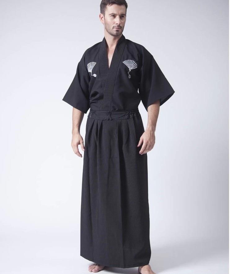 Vintage Black Japanese Men's Warrior Kimono With Obi Traditional Yukata Samurai Clothing Convention Costume One Size