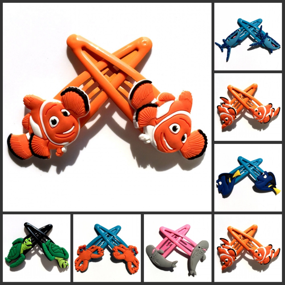 2pcs Finding Nemo Baby Clip Hairpins Lovely Girls Barrettes Kids Headwear Multicolor Hair Clip Hair Band Travel Accessories 12pcs lot 4 inch diy grosgrain ribbon bow with clip kids hairpins children hair accessories 12 colors hairpins factory wholesale