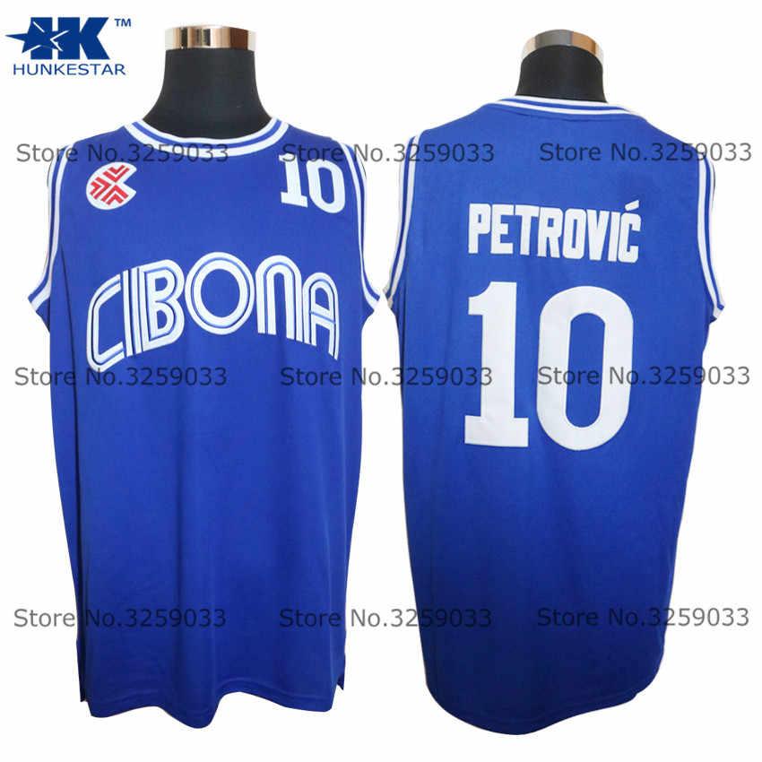 f9757c296 2018 Mens Drazen Petrovic Jersey Blue Croatia  10 Cibona Vintage Throwback Basketball  Jersey MAN Basket