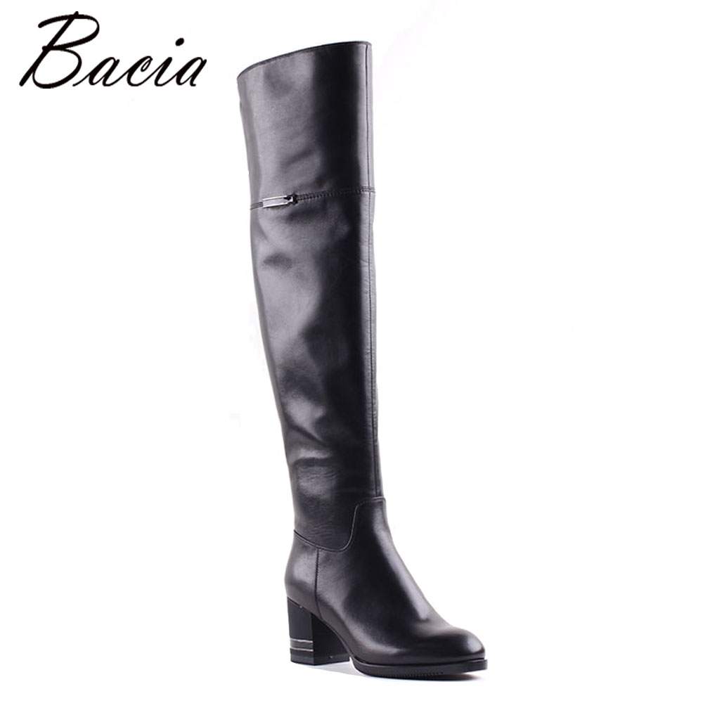 Bacia Black Stretch over the knee boots Genuine Leather Square Toe 6.6cm High heel Boots Ladies Autumn Long Boots Botas MB012 the black keys the black keys el camino 2 lp