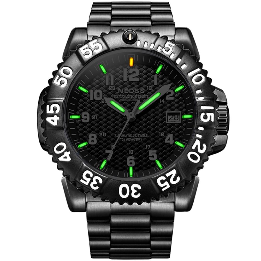 цена на Luxury brand NEDSS Men large watch Tritium Luminous seiko Mechanical watches sapphire glass 100m waterproof Mechanische Uhren