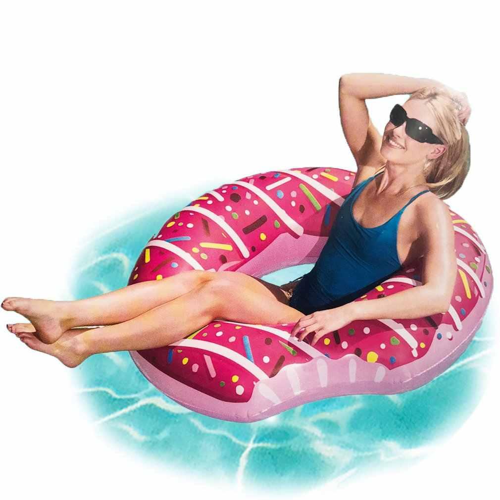 インフレータブルドーナツ水泳リングジャイアントプールフロートおもちゃサークルビーチ海パーティーインフレータブルマットレス水大人の子供