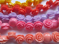 50pc Assorted Dainty Resin Rose Cabochons White Ivory Yellow Pale Pink Coral Fuchsia Turquoise Aqua Blue Teal Purple Green 6 20m