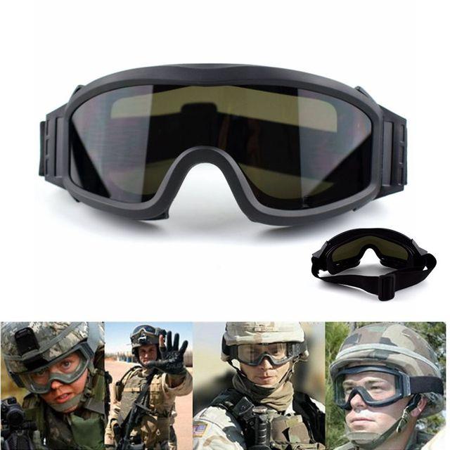 Óculos de Proteção tático Militar Airsoft Shooting Glasses GX1000 Wargame  Preto 3 Da Lente Da Motocicleta c0501baff2
