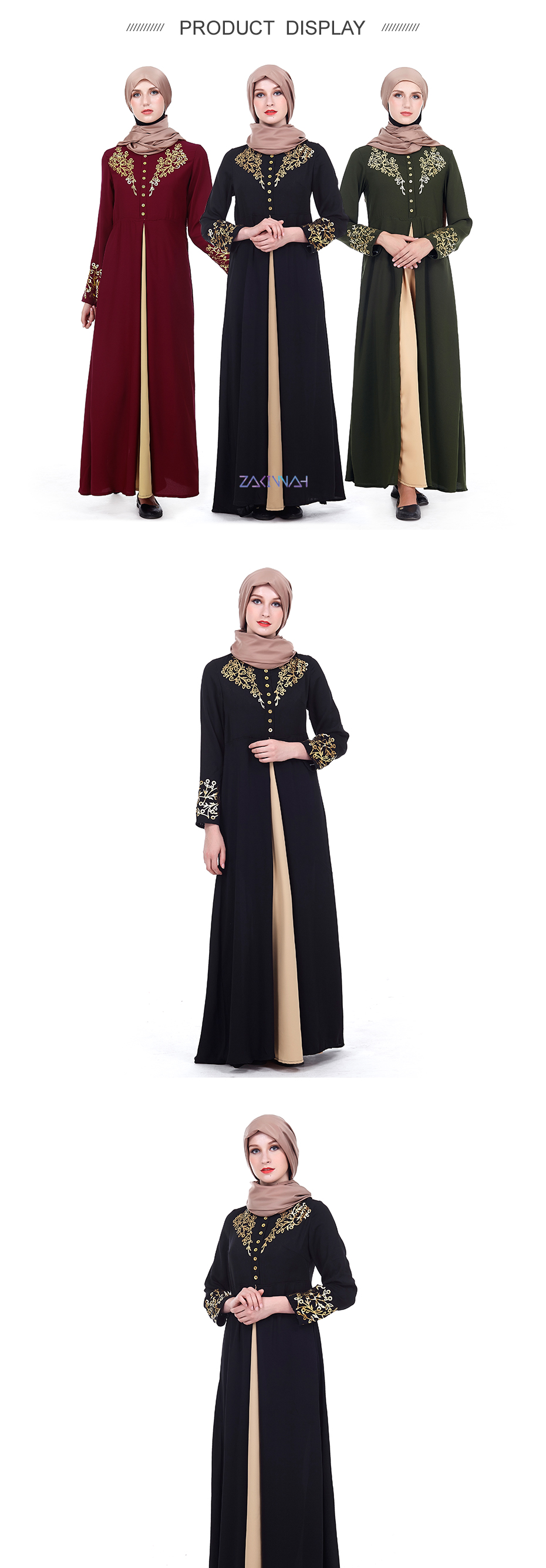 New fashion muslim abaya arab cardigan print robe